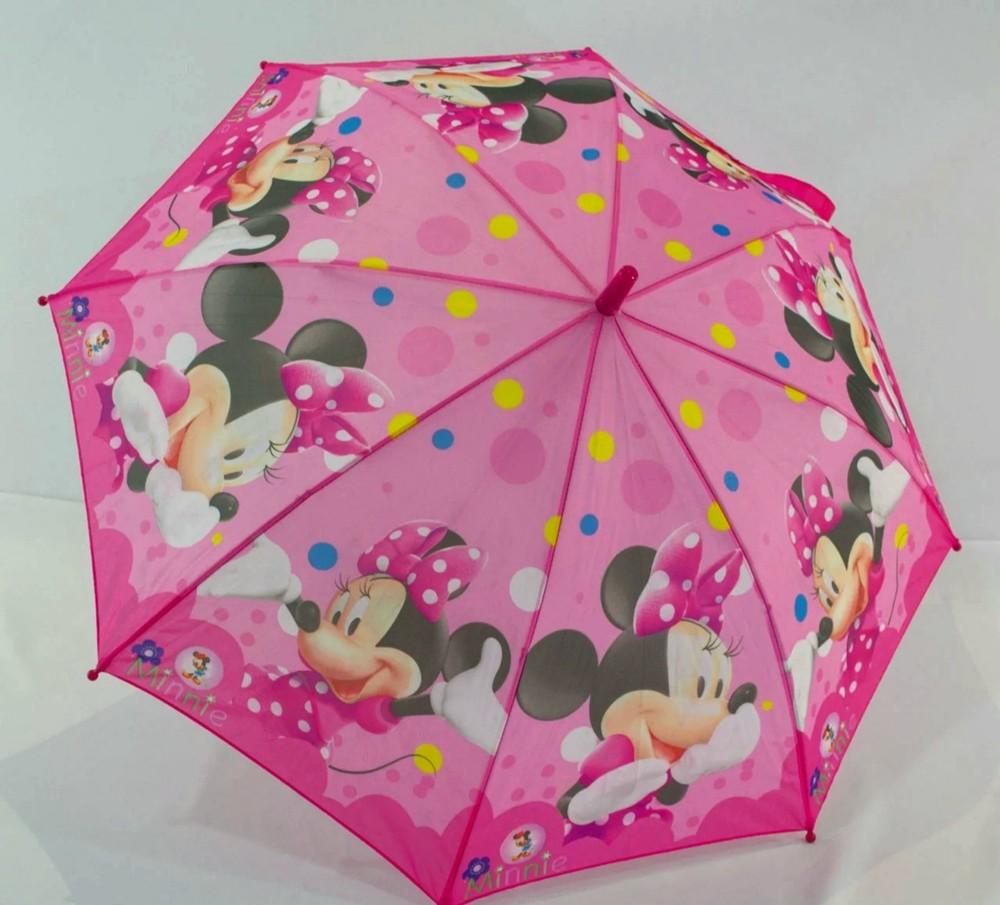 Детский складной зонт полуавтомат minnie rainproof зонтик для девочки с минни маус фото №1