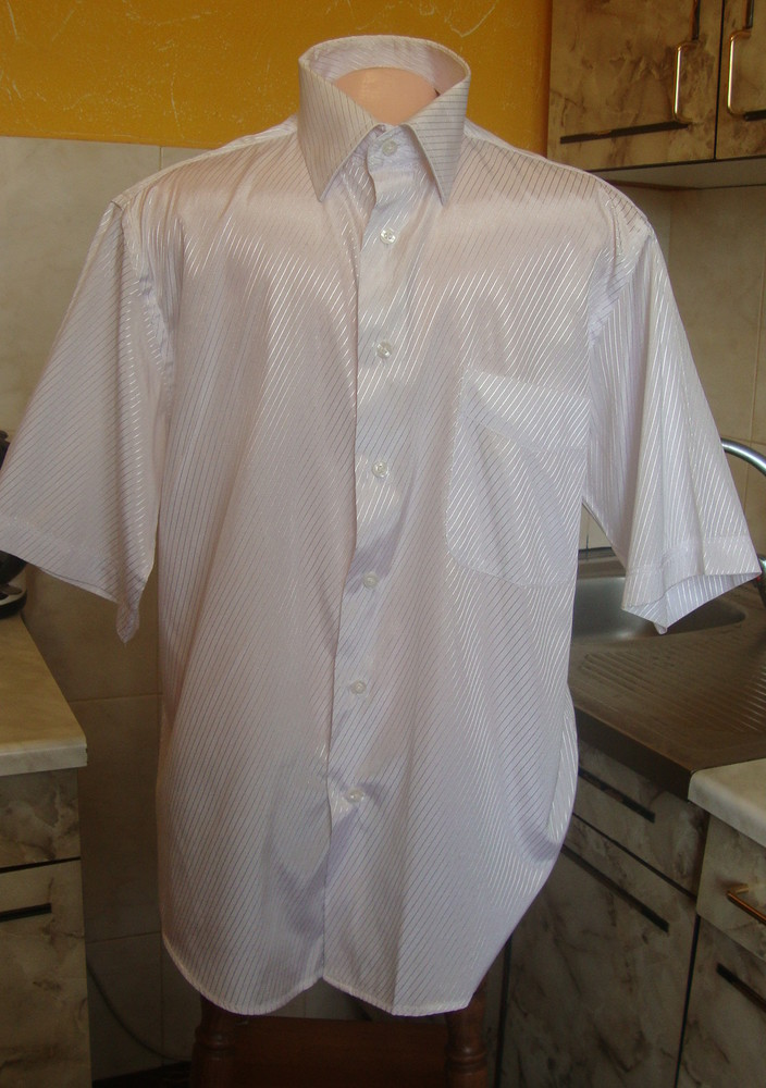 Рубашка белая с блестящей полоской ferrero gizzi m 39-40 фото №1