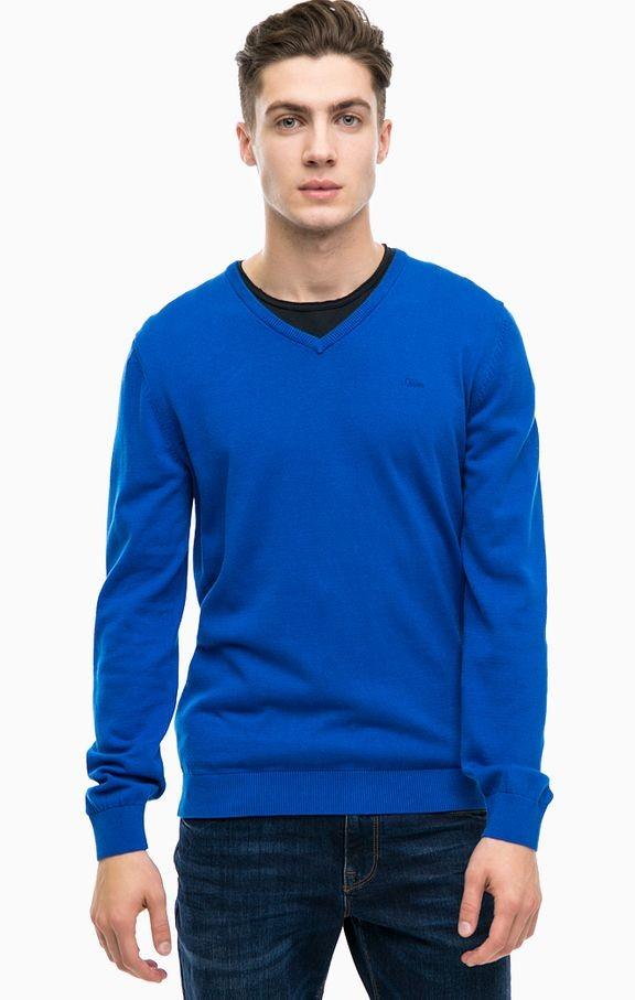 Стильный синий джемпер/пуловер s.oliver made in indonesia фото №1