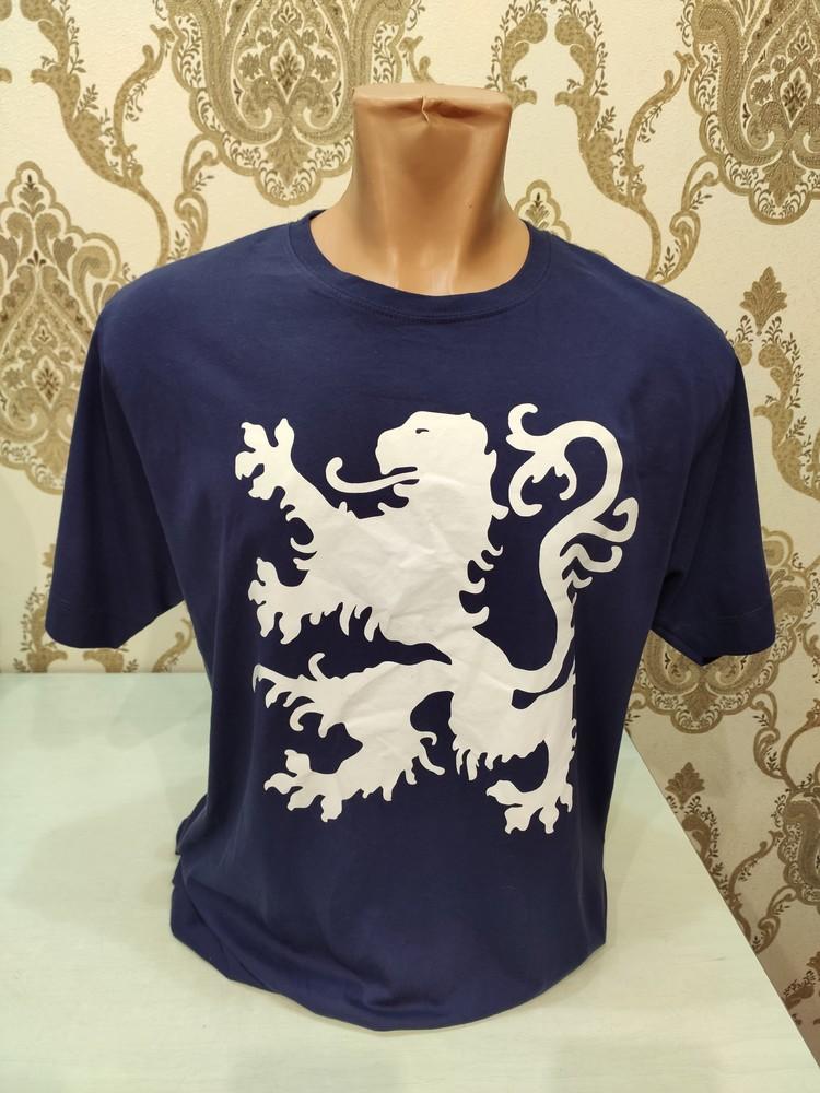 Мужская синяя футболка с принтом фото №1