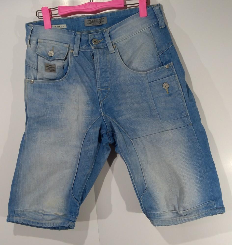 Чоловічі джинсові шорти на ґудзиках jacksjones розмір s (у102) фото №1