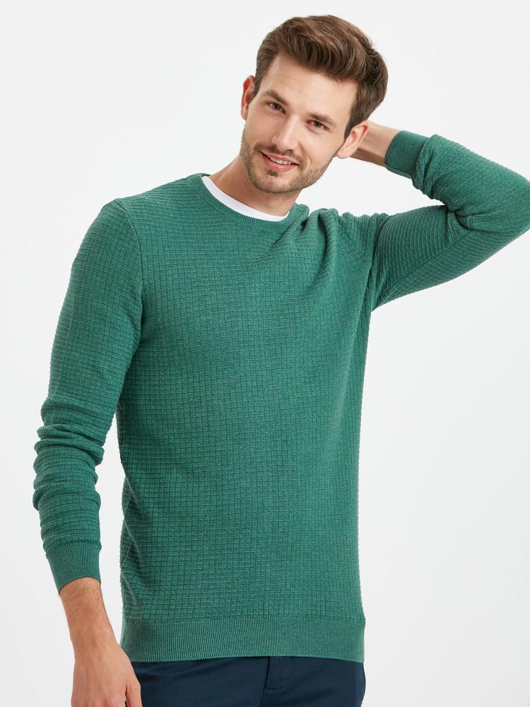Бирюзовый мужской свитер lc waikiki / лс вайкики с фактурным рисунком фото №1