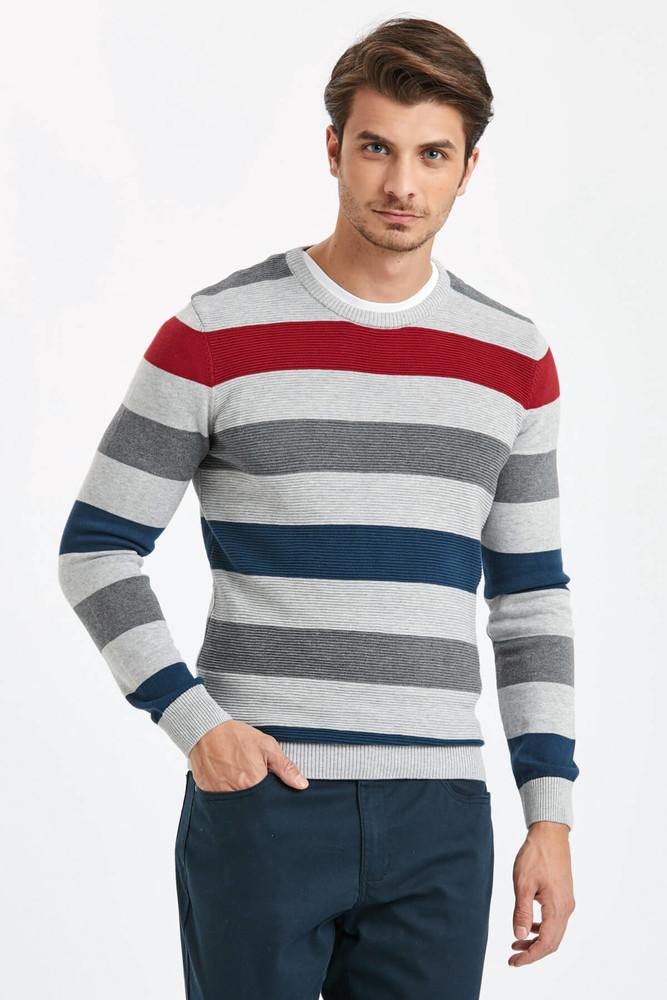 Серый мужской свитер lc waikiki / лс вайкики в красную и синюю полоску фото №1