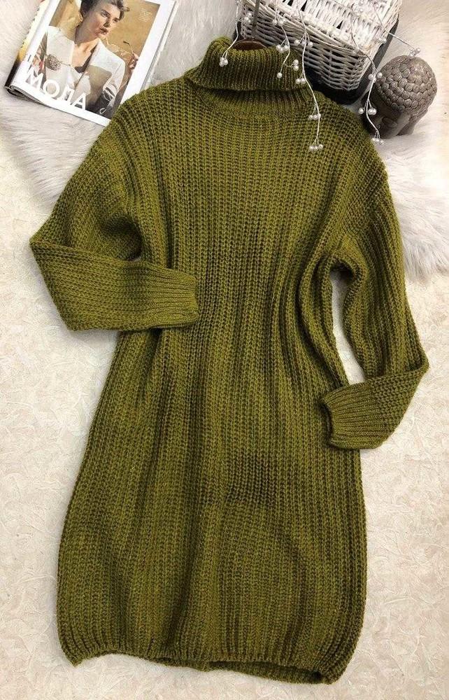 Вязаное платье свитер туника с горлом  фото №1