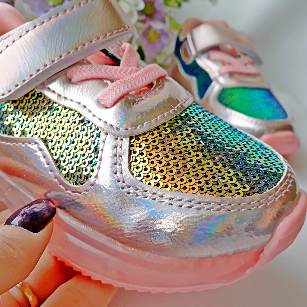 Кроссовки на девочку с пайетками 21-31 размеры фото №1