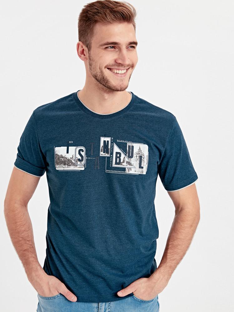 Синяя мужская футболка lc waikiki / лс вайкики istanbul фото №1