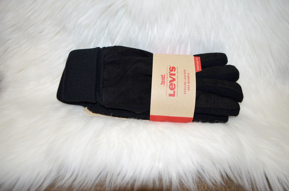 Утеплённые кожаные перчатки levis xl отличный подарок для мужчины фото №1