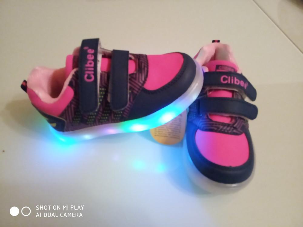 Кроссовки для девочки clibee f631 led 21-26 фото №1