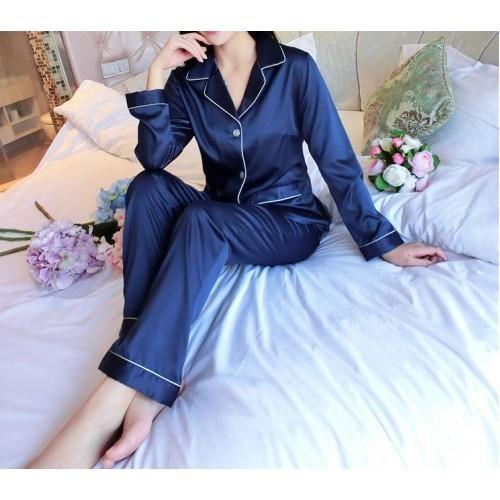 Пижама синяя длинный рукав+штаны. фото №1