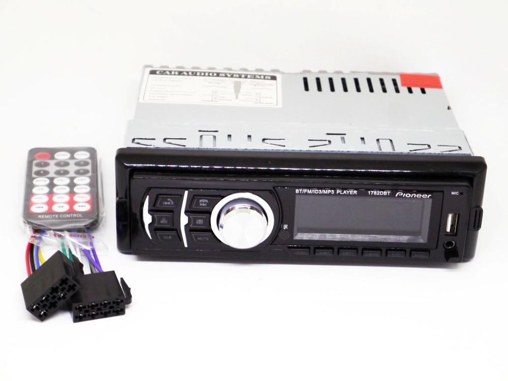Автомагнитола pioneer 1782dbt - bluetooth mp3 player, fm, usb, sd, aux - rgb подсветка съемная панел фото №1