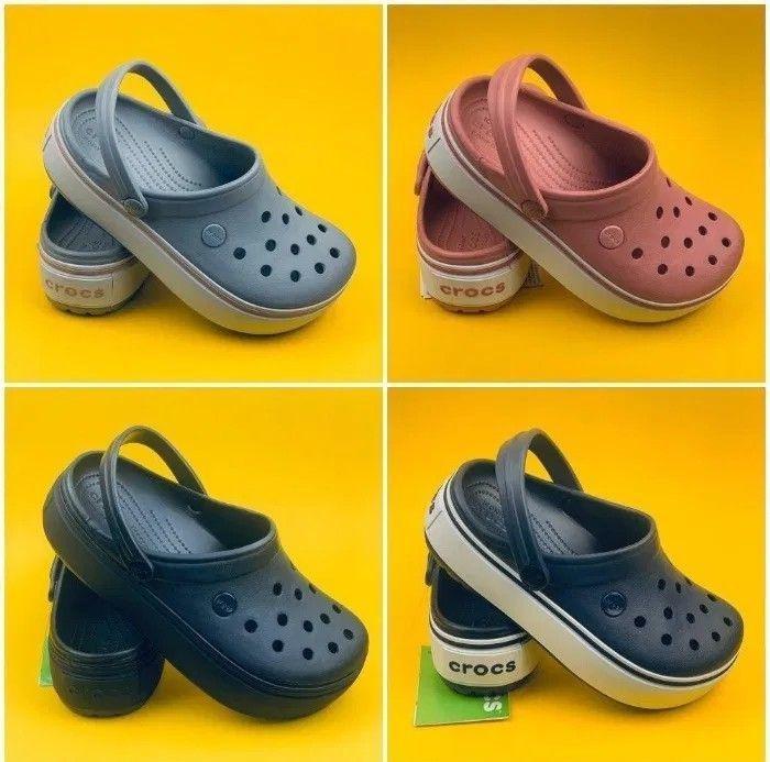 Женские crocs crocband platform кроксы крокбенд на платформе. цена вау фото №1