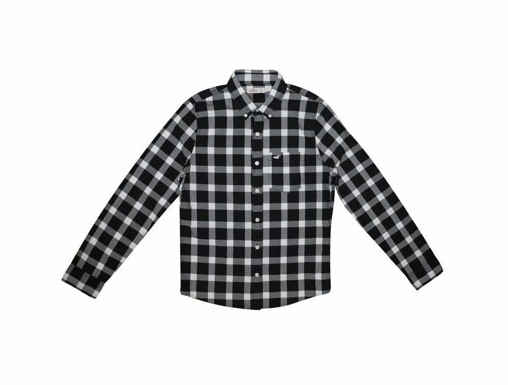 Мужская рубашка с длинным рукавом в клетку hollister s m фото №1