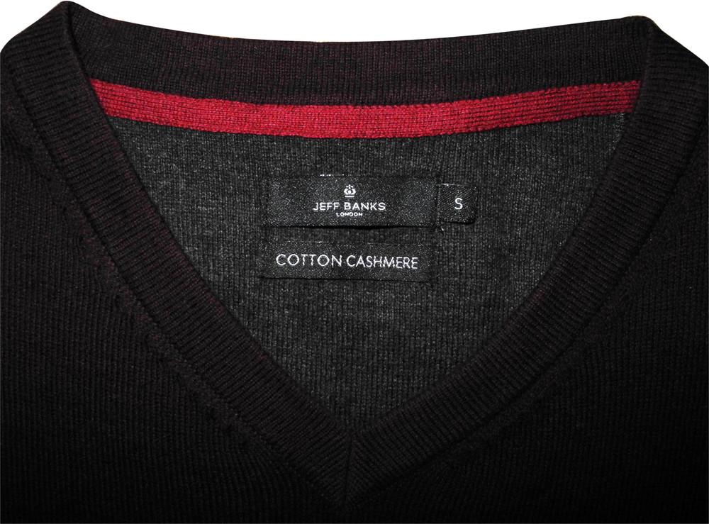 Мужская кофта кашемир темно бардовая шерстяная jeff banks cashmere s m фото №1