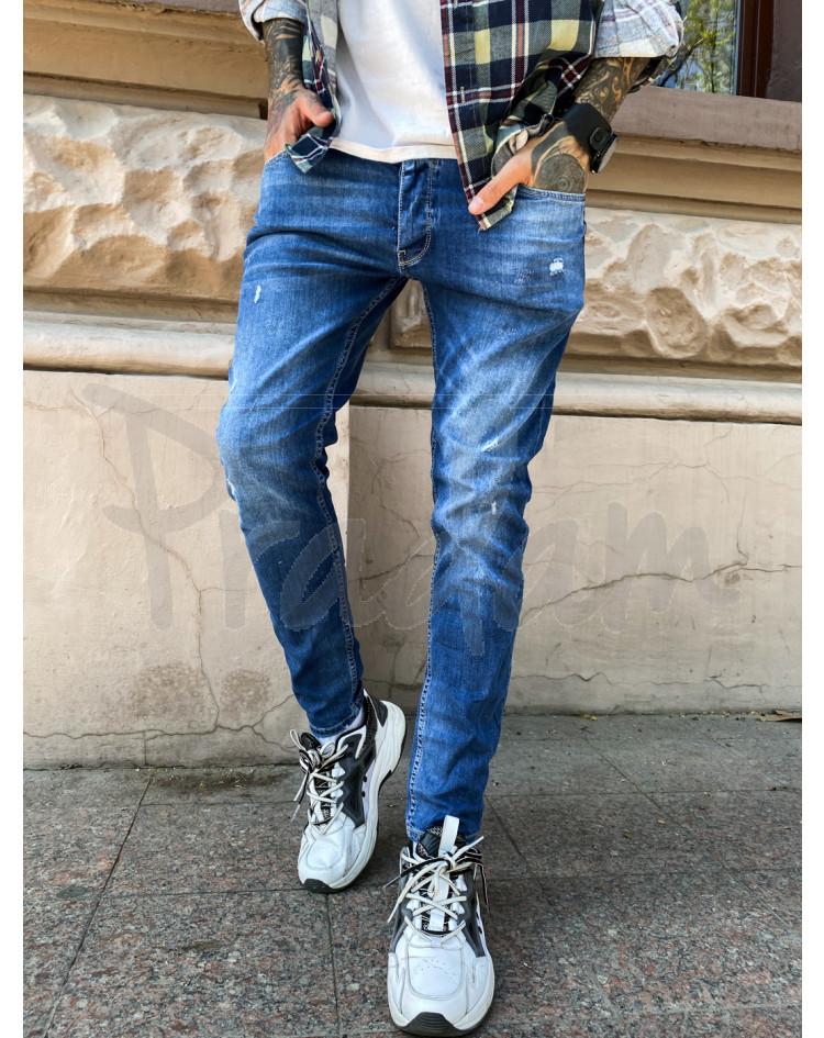 Мужские джинсы с царапками зауженные. фото №1