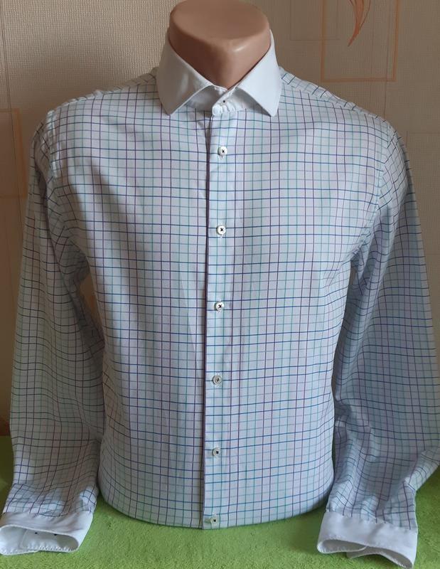 Стильная белая рубашка в разноцветную клетку seidensticker ,made in германия фото №1