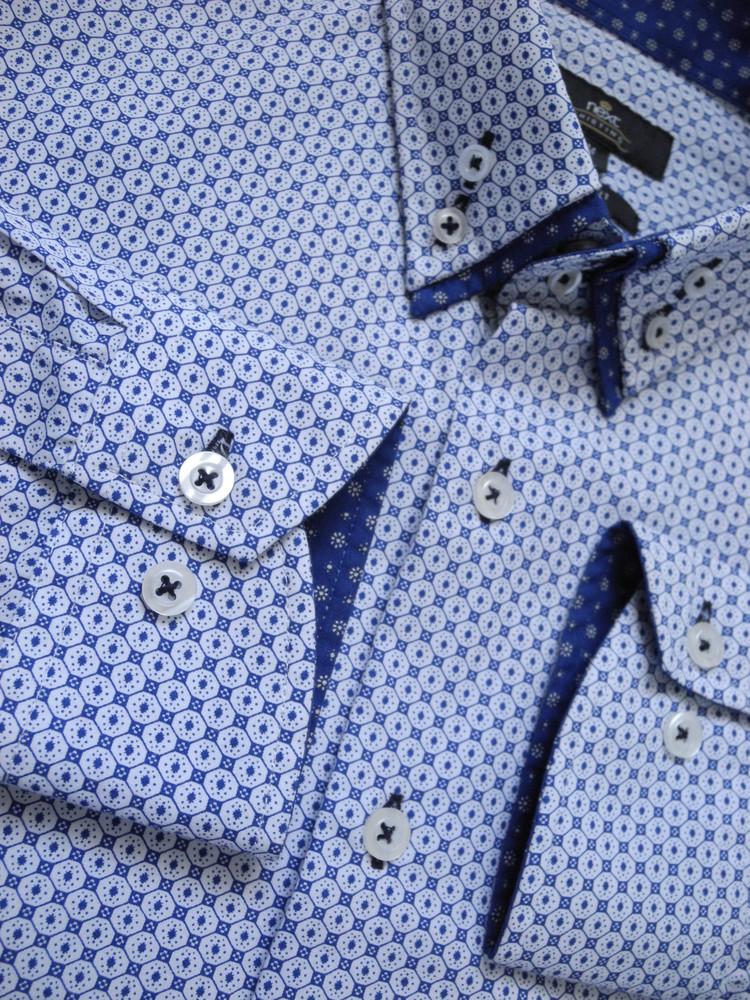 Мужская рубашка белая синяя в узорчик next m фото №1