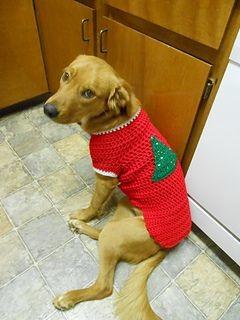 Вязаная новогодняя кофта для собаки фото №1