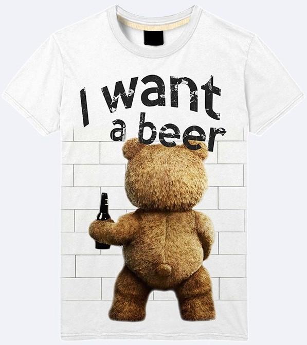 Мужская футболка 3d i want a beer большой выбор фото №1