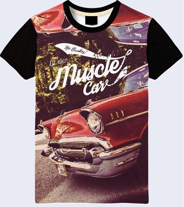 Мужская футболка 3d muscle car большой выбор фото №1