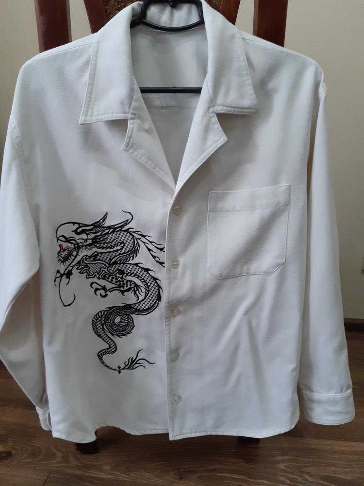 Сорочка-піджак білий джинс фото №1