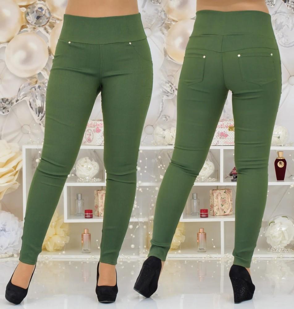 Женские лосины-джинсы с эффектом утяжки, батал большие размеры оливка зеленые хаки фото №1