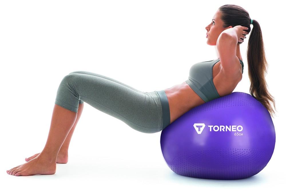 Мяч гимнастический torneo с насосом для занятий фитнесом и аэробикой диам 65 см система anti-burst фото №1