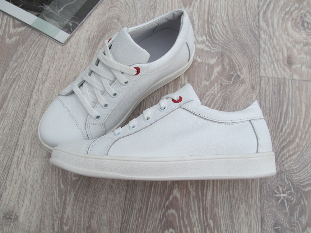 Белые кеды кожаные для девочки на шнурках 32--40размер фото №1