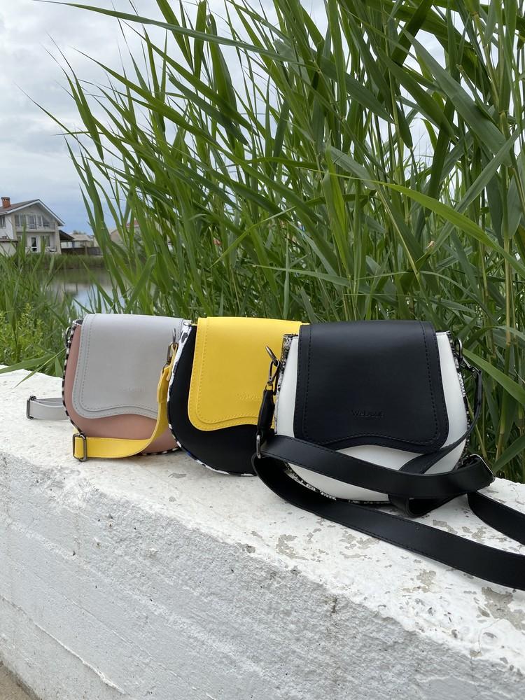 Сумочка женская кросс-боди небольшая круглая белая желтая пудровая черная оливковая фото №1