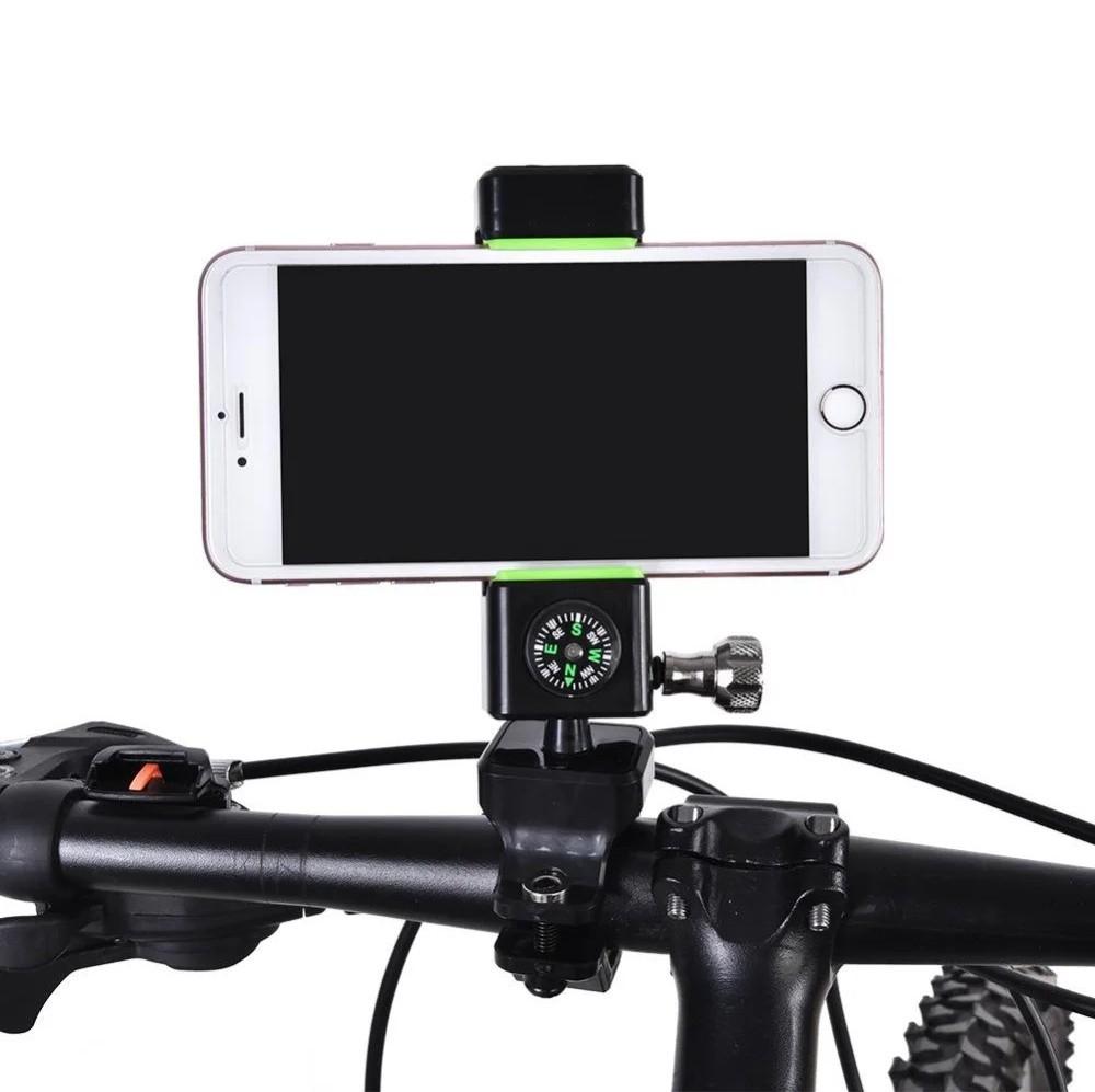 Велодержатель для телефона, смартфона q003+2led, шарнир 360º, компас фото №1