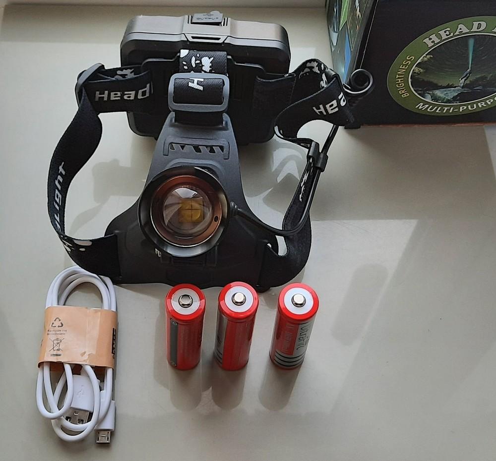 Фонарь налобный police p53 (зу microusb, zoom, 3x18650, павер банк) фото №1