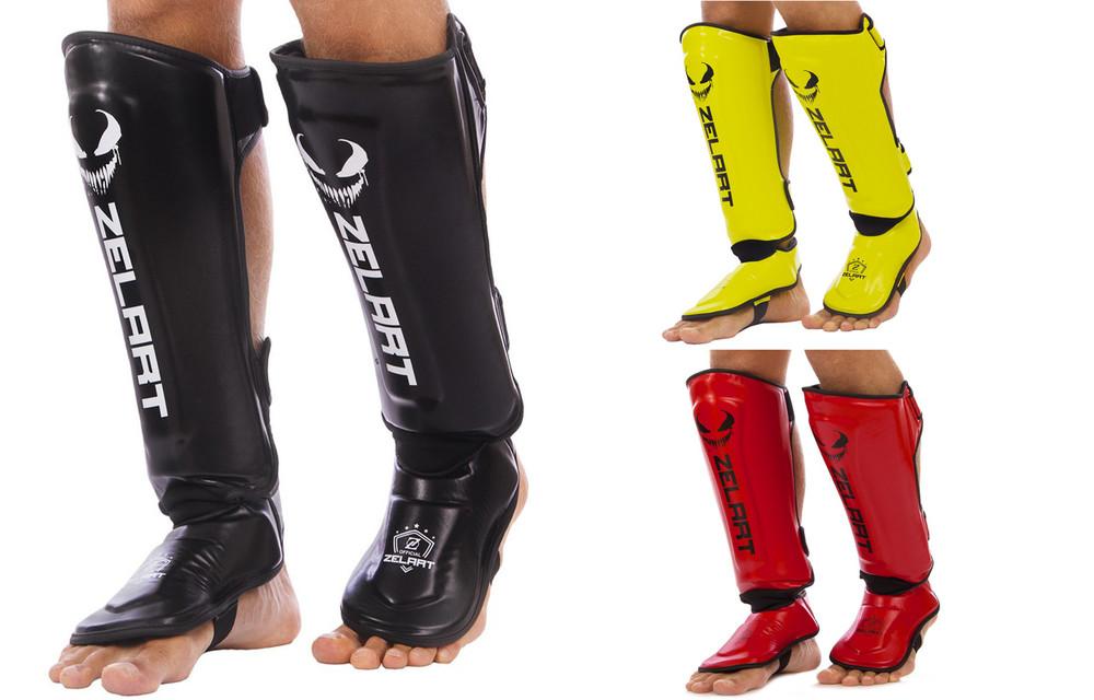 Защита для голени и стопы муай тай/кикбоксинг zelart 1376: размер s-xl (3 цвета) фото №1