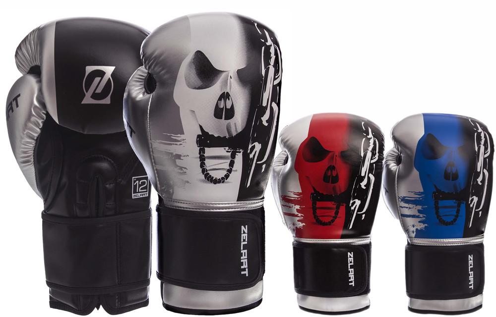 Перчатки боксерские на липучке zelart 1315: 10-14 унций, pu (3 цвета) фото №1