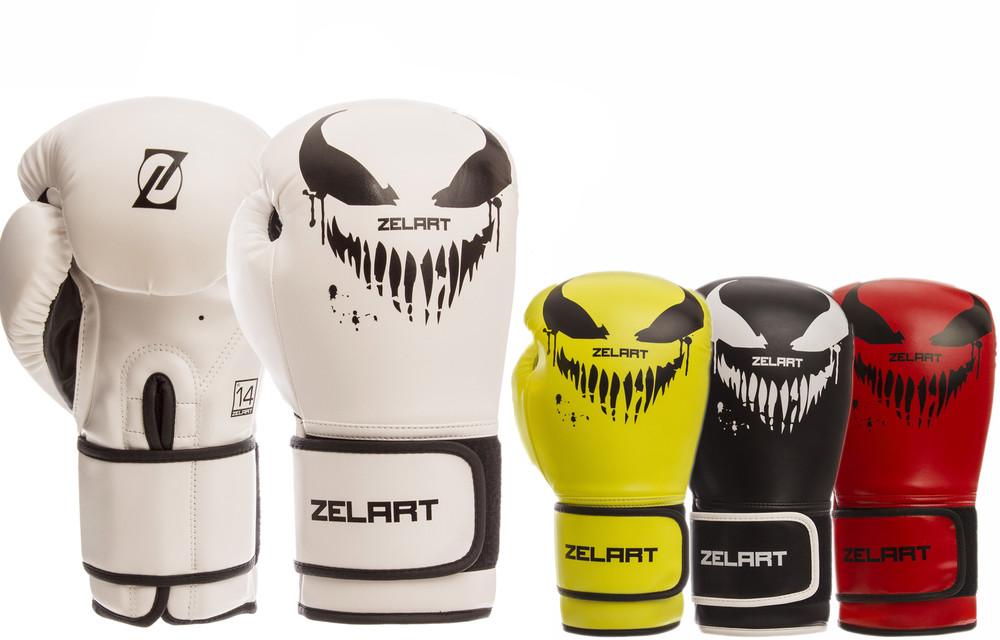 Перчатки боксерские на липучке zelart 1370: 10-14 унций, pu (4 цвета) фото №1