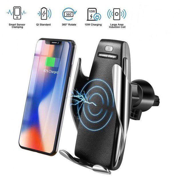 Универсальный автомобильный держ. wireless с беспроводной зарядкой s5 smart sensor car charger фото №1