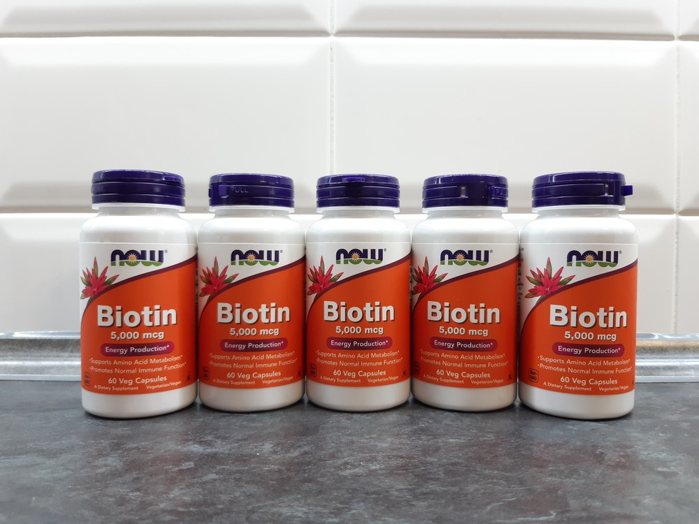 Биотин now foods, 60 капсул по 5 мг, biotin фото №1