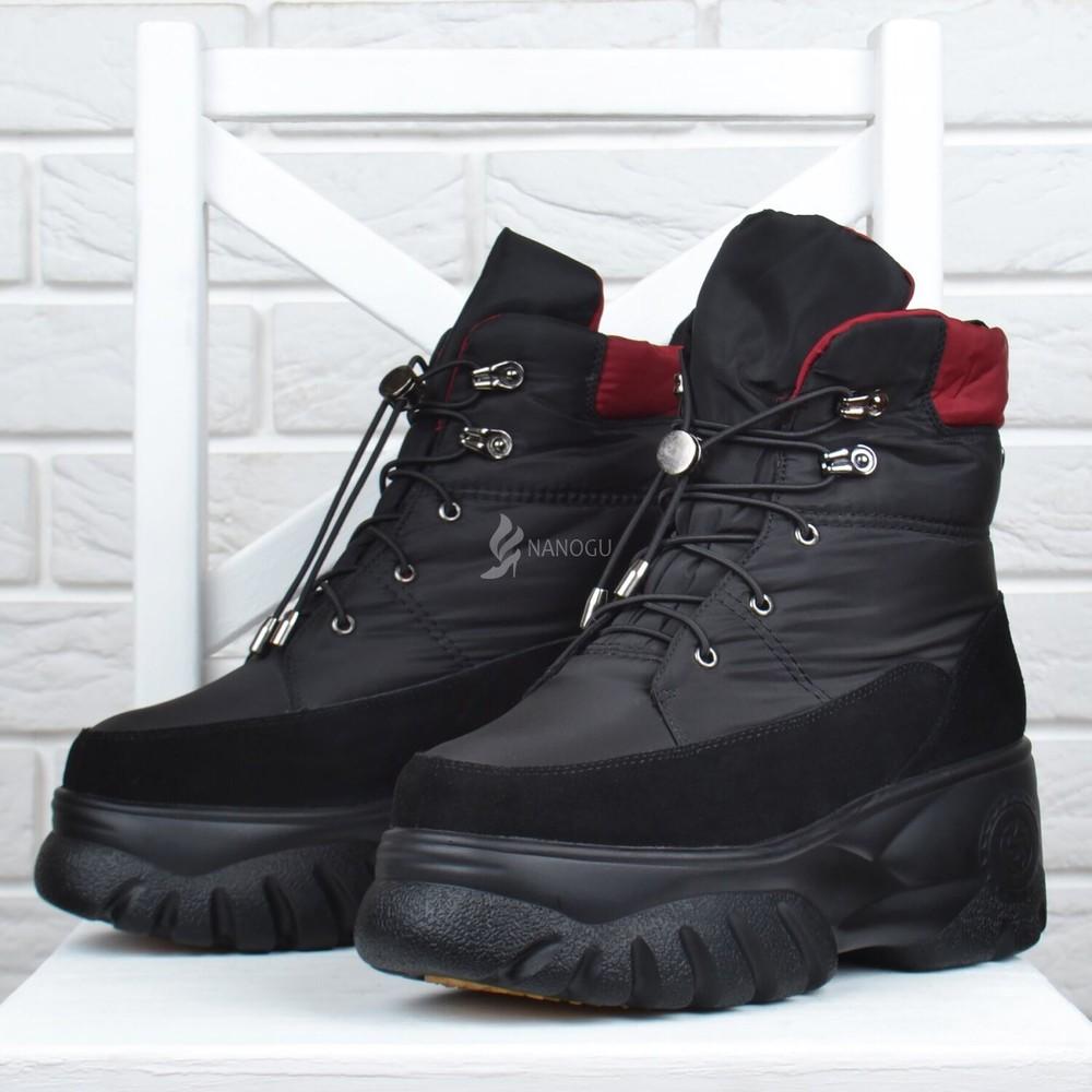 Дутики женские зимние lonza замша и натуральный мех ботинки на платформе фото №1