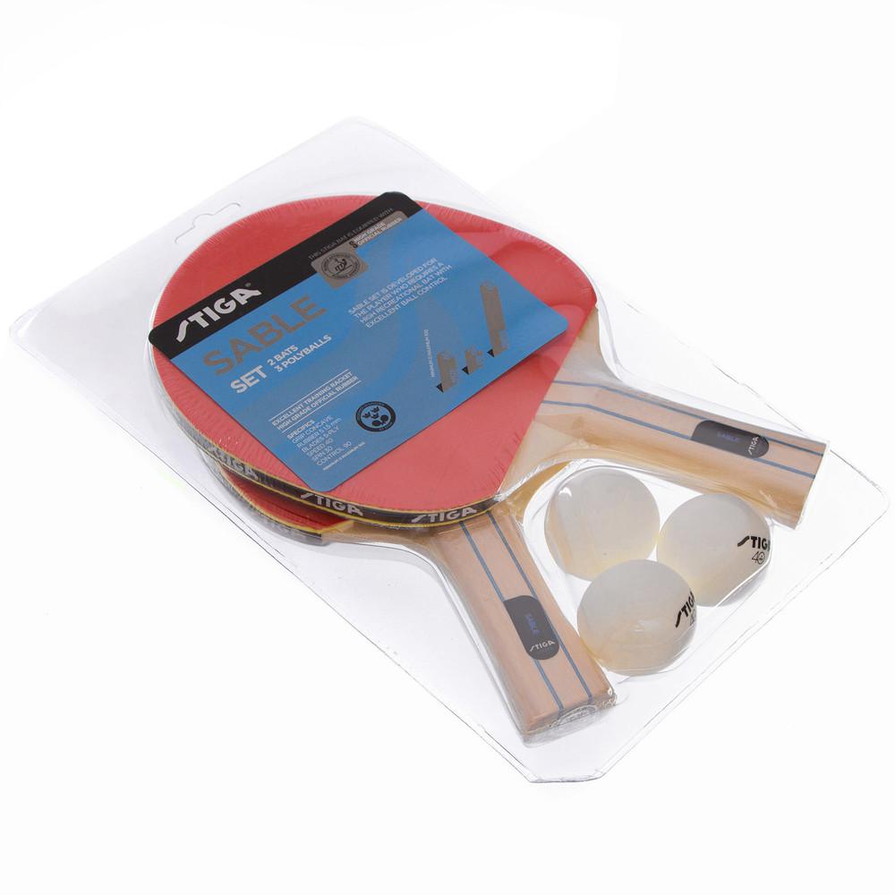 Набор для настольного тенниса stiga sable 1220111701: 2 ракетки + 3 мяча фото №1