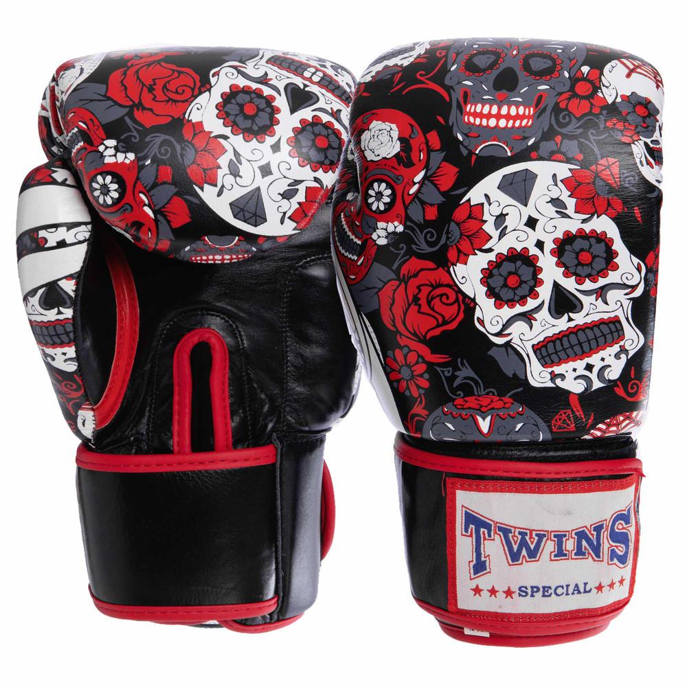 Перчатки боксерские кожаные на липучке twin 2059: 10-12 унций фото №1