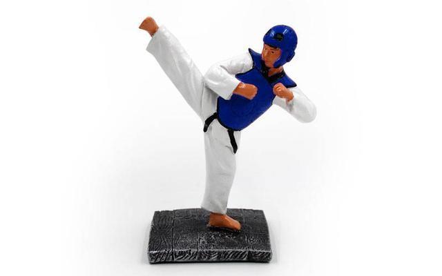 Награда спортивная тхэквондо 1501-b8 (статуэтка наградная таеквондист): 19х15х8см фото №1