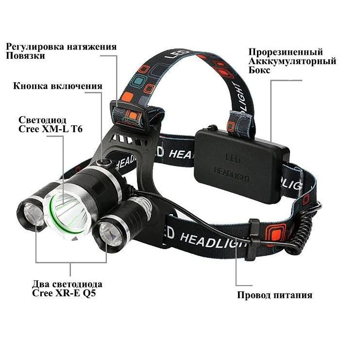 Мощный налобный фонарь. 4 режима работы фото №1