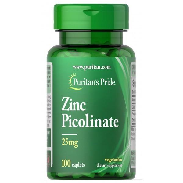 Puritan's pride, цинк пиколинат (100 таб. по 25 мг) фото №1