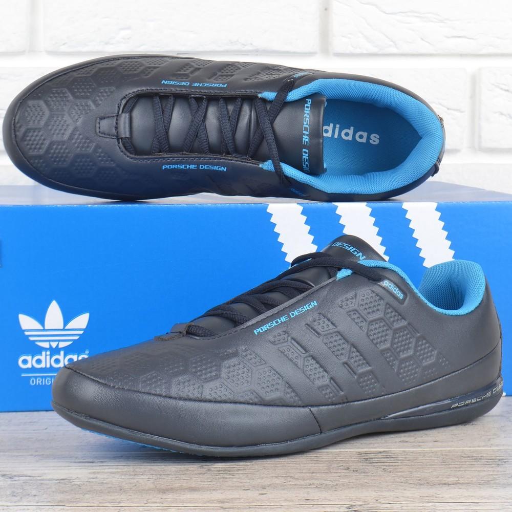 Кроссовки мужские кожаные adidas porsche design серые с синим фото №1