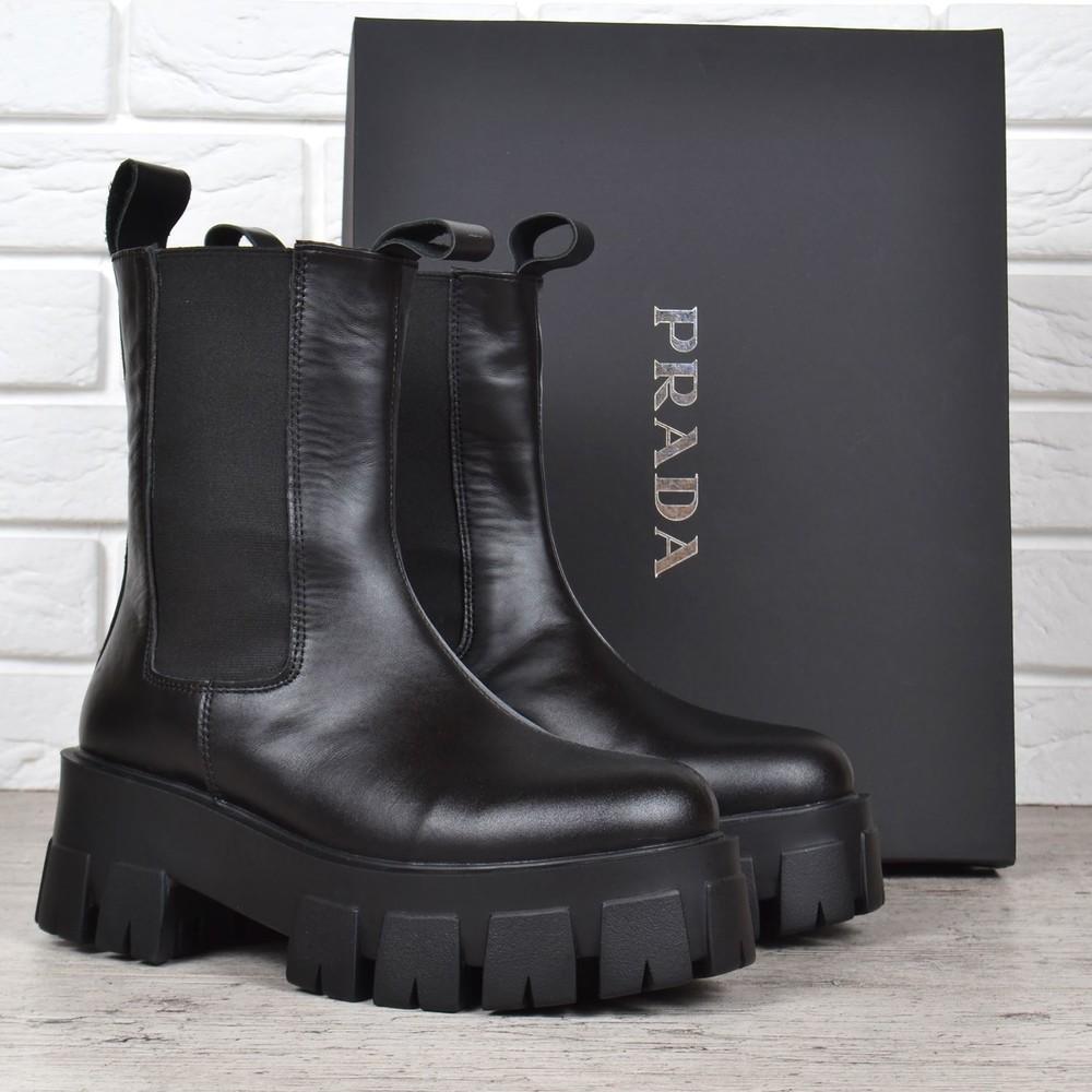 Ботинки женские кожаные prada деми берцы черные фото №1