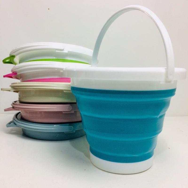 Ведро силиконовое складное туристическое collapsible bucket el 5л фото №1