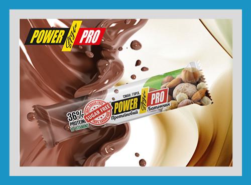 Батончик протеиновый power pro nutella без сахара ореховый 32%, 60 гр фото №1