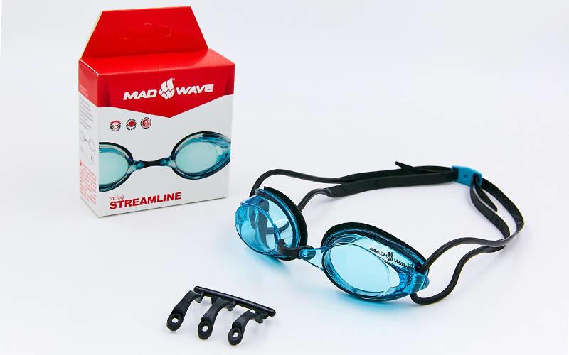 Очки для плавания стартовые madwave streamline 045701: поликарбонат, силикон + 3 цвета фото №1