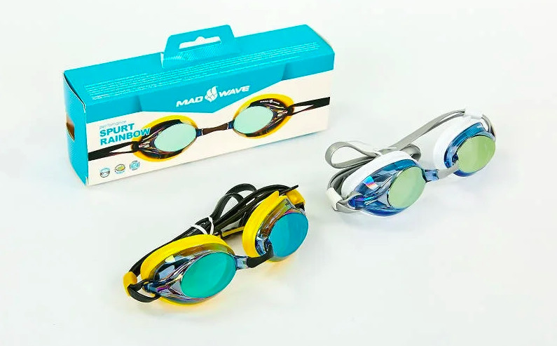 Очки для плавания madwave spurt rainbow 042726: поликарбонат, силикон, 2 цвета фото №1