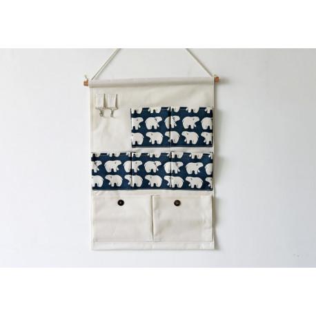 Подвесной органайзер с карманами, белый. полярный медведь. (7 карманов) фото №1