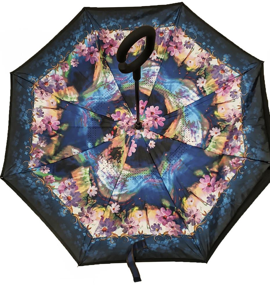 Зонт наоборот, зонт обратного сложения, ветрозащитный зонт up-brella, антизонт, зонт перевертыш сини фото №1