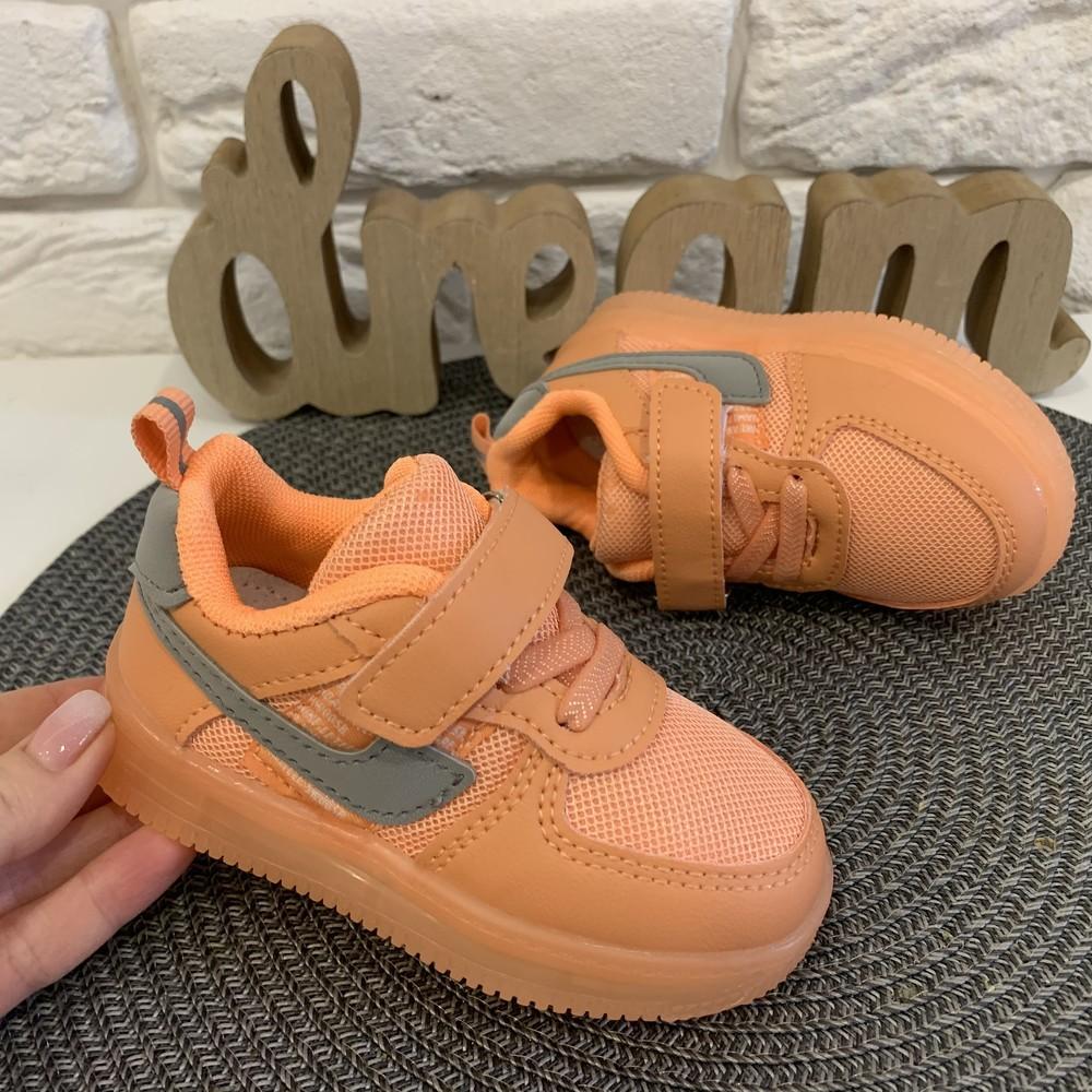 Кроссовки светящейся детские персикового цвета фото №1
